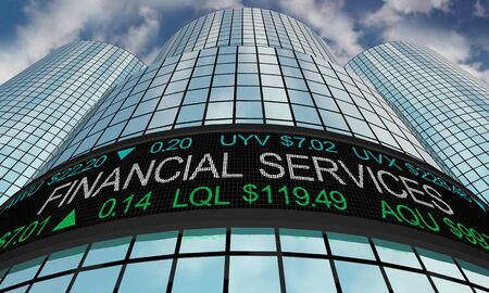 Financial Services Stock Market Industry Sector Wall Street Buildings 3d Illustration