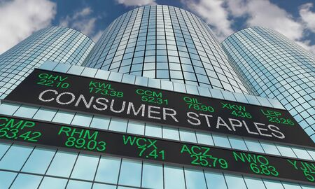 Consumer Staples Goods Stock Market Industry Sector Wall Street Buildings 3d Illustration 스톡 콘텐츠