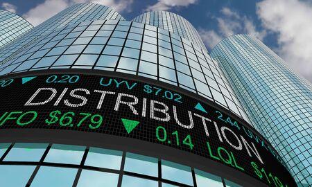 Distribution Logistics Stock Market Industry Sector Wall Street Buildings 3d Illustration 스톡 콘텐츠