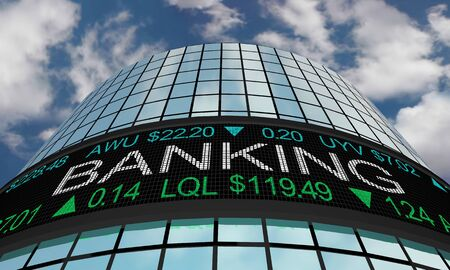 Banking Financial Companies Stock Market Industry Sector Wall Street Buildings 3d Illustration