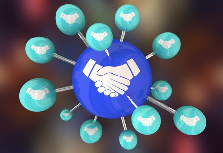 Handshake Agreement Shaking Hands Meeting Network Connections 3d Illustration Foto de archivo - 126206096