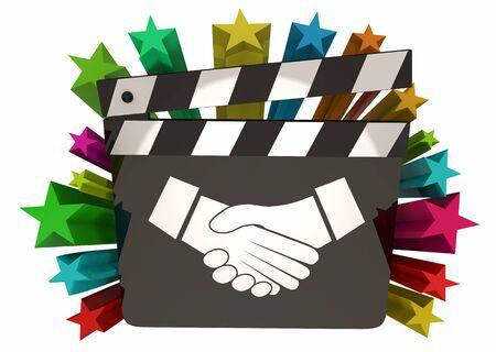 Handshake Agreement Shaking Hands Person Choosing Best Partnership Movie Film Clapboard 3d Illustration Foto de archivo - 126206099