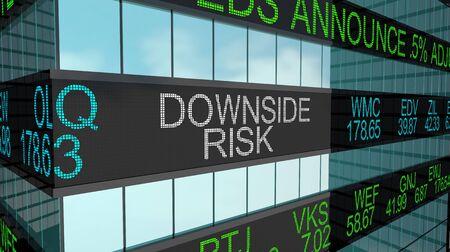 Downside Risk Warning Stock Market Ticker Words 3d Illustration