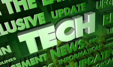 Tech News Update Announcement Word Collage 3d Illustration