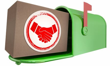 Handshake Agreement Shaking Hands Person Choosing Best Partnership Mailbox Package Delivery 3d Illustration Foto de archivo - 126206112