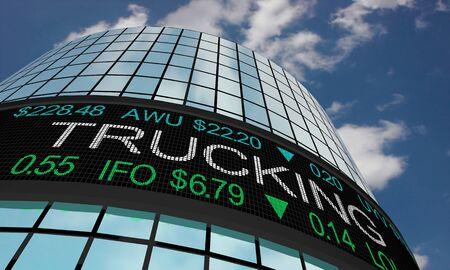 Trucking Hauling Logistics Stock Market Industry Sector Wall Street Buildings 3d Illustration Standard-Bild