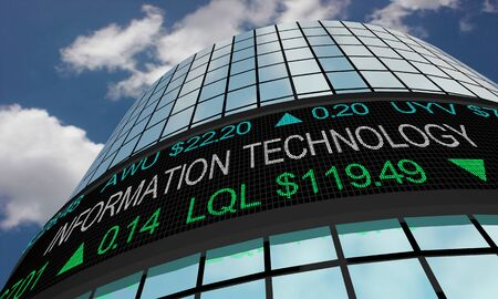 Information Technology IT Stock Market Industry Sector Wall Street Buildings 3d Illustration 스톡 콘텐츠