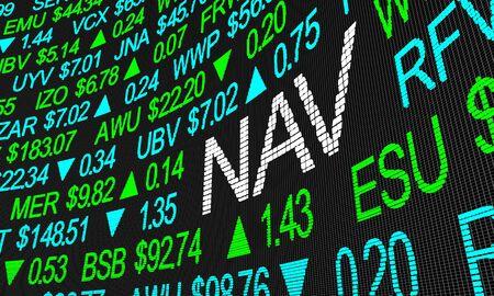 NAV Net Asset Value Stock Market Investment Symbols 3d Illustration Standard-Bild