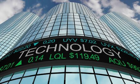 Technology Companies Stock Market Industry Sector Wall Street Buildings 3d Illustration