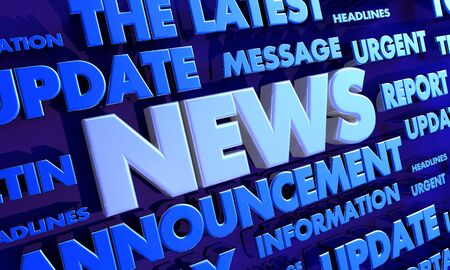 News Report Urgent Important Update Word Collage 3d Illustration