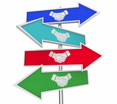Handshake Signs Arrow Shaking Hands Best Deals 3d Illustration
