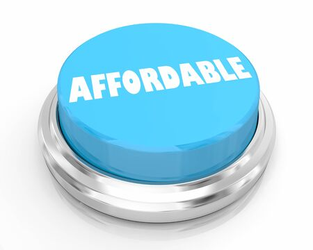 Affordable Budget Priced Low Special Deal Blue Button 3d Illustration