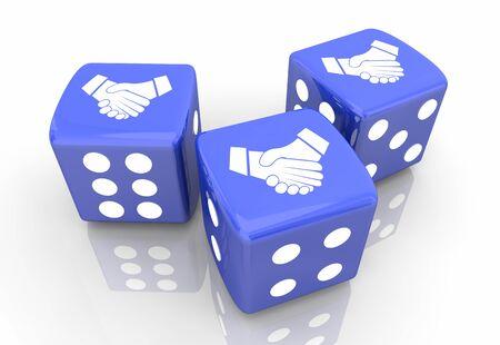 Handshake Agreement Shaking Hands Dice Take Chance Gamble 3d Illustration Foto de archivo - 126206191