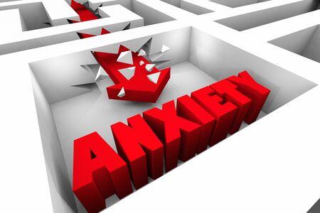 Anxiety Stress Fear Breaking Cycle Maze Arrow 3d Illustration Banco de Imagens