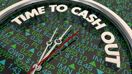 Time to Cash Out Sell Stocks Investements Clock 3d Illustration Foto de archivo - 126913757