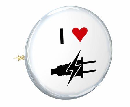 Electricity Power Energy Plug I Love Heart Power Symbol Icon 3d Illustration