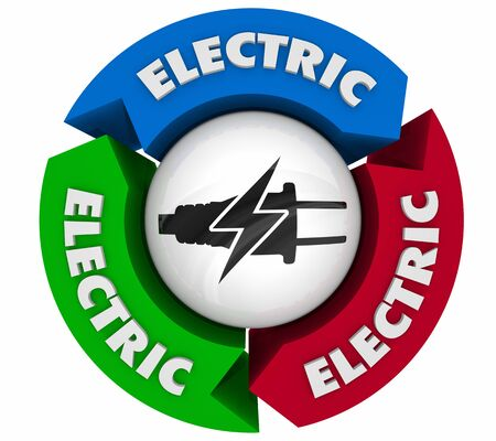 Electricity Power Energy Plug Symbol Icon Process System Grid 3d Illustration 写真素材 - 127278855