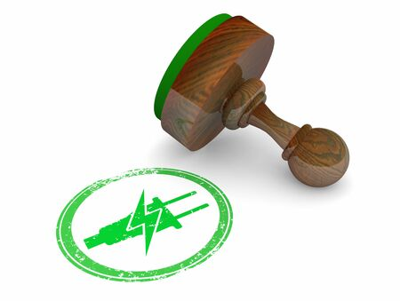Green Clean Electric Power Energy Rubber Stamp Official Answer Approval 3d Illustration