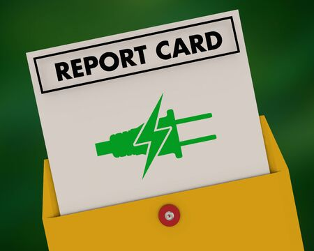 Green Clean Electric Power Energy Report Card Grade 3d Illustration