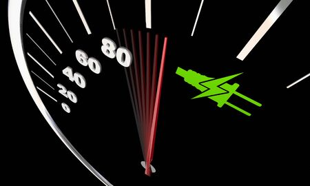 Electricity Plug Symbol Green Energy Power Car Vehicle Speedometer Renewable 3d Illustration