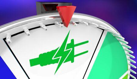 Electricity Plug Symbol Green Energy Power Spinning Wheel Game Winner Choice 3d Illustration