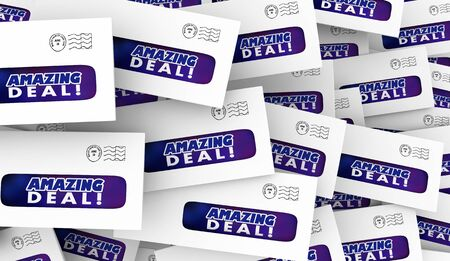 Amazing Deal Big Sale Special Offer Discount Direct Mail Envelopes 3d Illustration