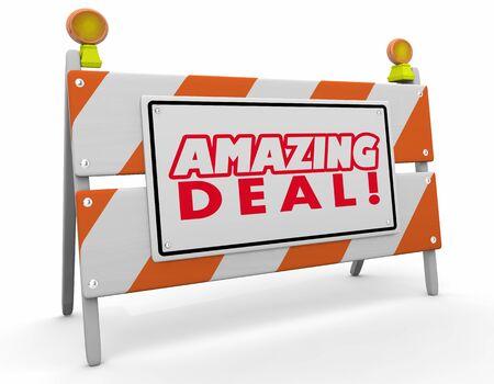 Amazing Deal Construction Sign Barricade Sale Offer 3d Illustration