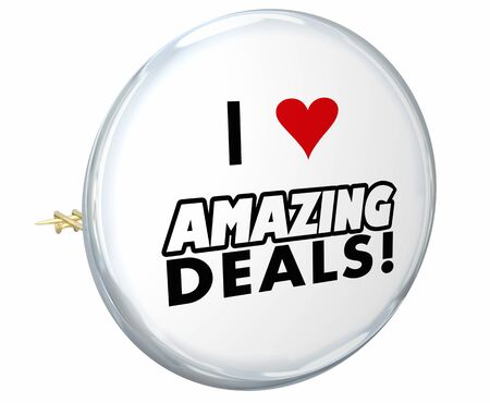 I Love Amazing Deals Sales Discounts Offers Button Pin 3d Illustration