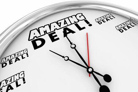 Amazing Deal Special Offer Clock Deadline Time Reminder Sale 3d Illustration