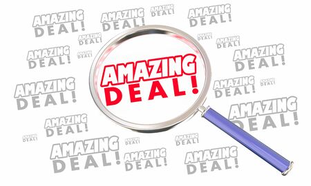 Amazing Deal Sale Special Offer Save Money Magnifying Glass Search 3d Illustration Stock Photo
