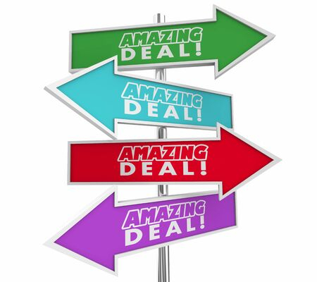 Amazing Deal Big Savings Sale Discount Save Money Arrow Signs Choices Sales 3d Illustration