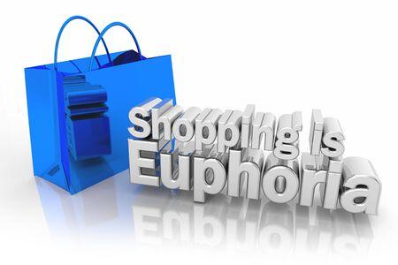 Shopping is Euphoria Ecstasy Bag Buy 3d Illustration