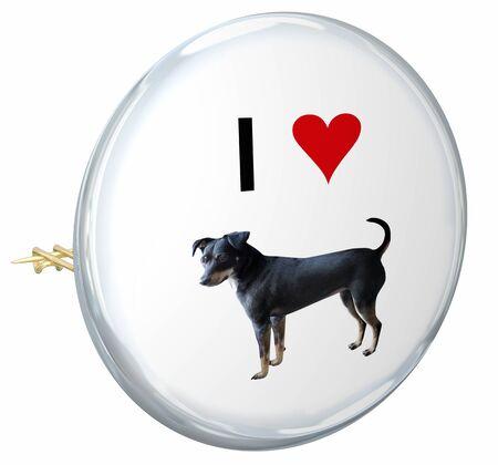 I Love Dogs Pets Animals Button Pin Symbol 3d Illustration Stock Illustration - 128196496