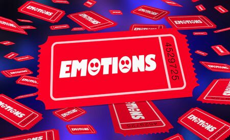 Emotions Feelings Contest Raffle Tickets Drawing Lottery 3d Illustration Stockfoto