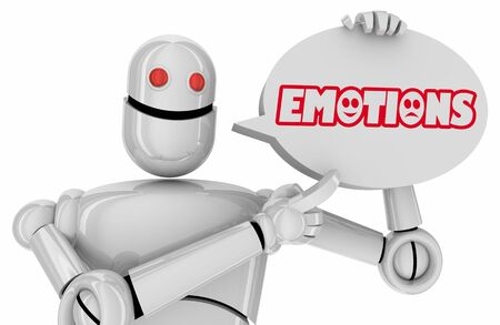 Emotions Feelings Robot Speech Bubble Automation AI Words 3d Illustration Stockfoto