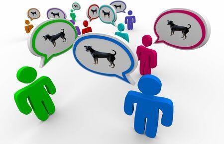 Dog Pet Animal People Talking Speech Bubbles 3d Illustration Stock Illustration - 128506795