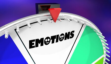 Emotions Spinning Wheel Game Show 3d Illustration Stockfoto