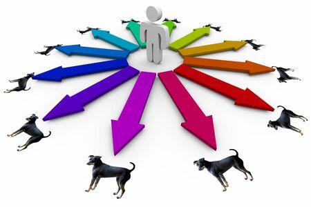 Choose Best Dog Pet Animal Adopt Person Arrows 3d Illustration