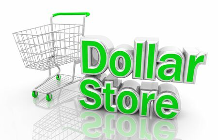 Dollar Store Discount Shopping Cart Words 3d Illustration