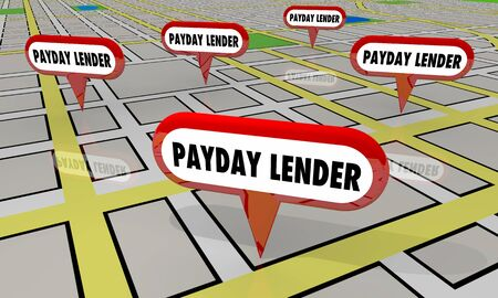Payday Lender Predatory Loan Check Cashing Map Locations 3d Illustration Foto de archivo - 128506805