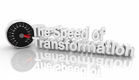 The Speed of Transformation Speedometer Change 3d Illustration Imagens