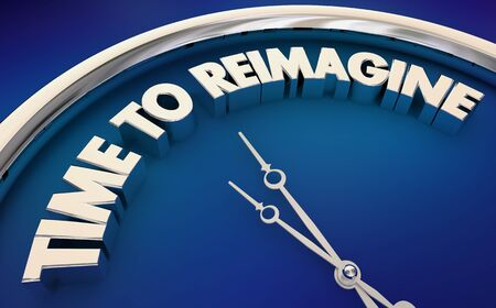 Time to Reimagine Rethink New Ideas Restart Clock 3d Illustration