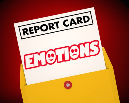 Emotions Feelings Report Card Word 3d Illustration Stockfoto - 128507173