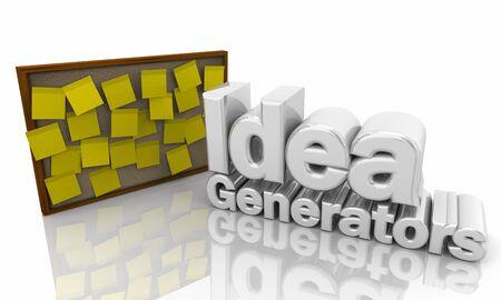 Idea Generators Bulletin Board Sticky Notes 3d Illustration