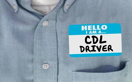 CDL Commercial Drivers License Name Tag Shirt Illustration 3d Banque d'images