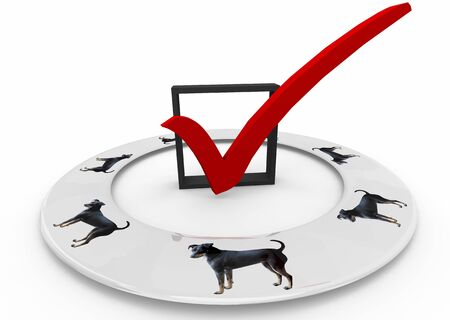 Dog Pet Animal Check Box Mark Choice Best Breed 3d Illustration