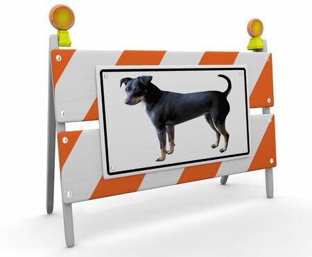 Dog Pet Animal Crossing Construction Barricade Sign 3d Illustration