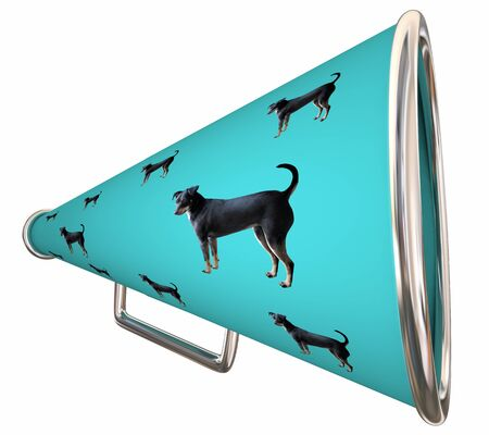 Dog Pet Animal Bullhorn Megaphone Communication 3d Illustration Archivio Fotografico