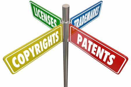 Patents Copyrights Trademarks Licenses Signs 3d Illustration Stock Photo