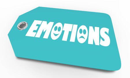 Emotions Price Tag Feelings Word 3d Illustration Stockfoto